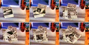 Montage aus Leave Me Alone Tabloids vor Jacksons Haustür