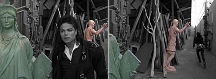 Jackson in schwarzer Uniform neben Freiheitsstatue und Statue des Römers in Moonwalker