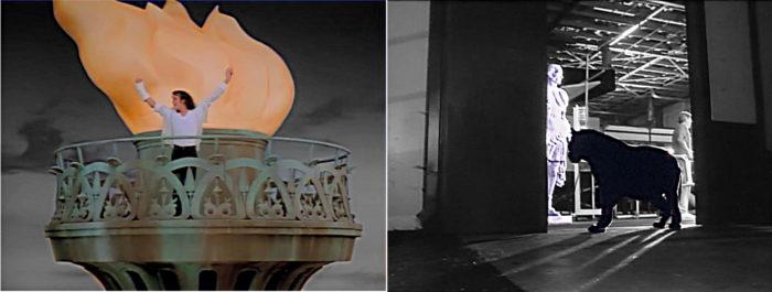 Bild links: Jackson auf Fackel der Freiheitsstatue in Black or White. Bild rechts: Jackson in Gestalt des schwarzen Panthers der eine römische Statue anfaucht