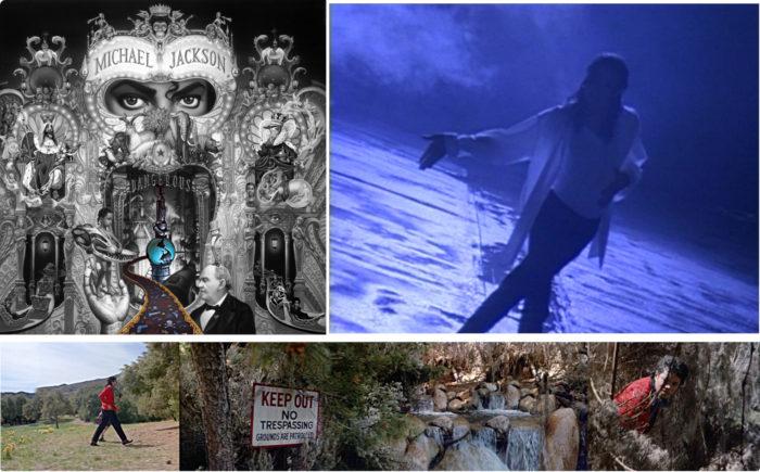 Bild eins Michael Jackson album cover dangerous mitte grenze Fluss. Bild zwei Jackson pepsi commercial Dreams 1993 Strasse dunkel grenze. Bild drei Jackson Moonwalker Warnung fluss Grenze
