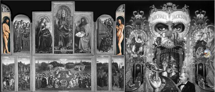 michael jackson dangerous album cover explained meaning erklärt symbols symbole bedeutung genter altarbild van eycken welt erde adam eva eve