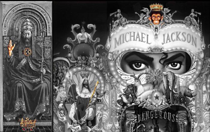 michael jackson dangerous album cover explained meaning erklärt symbols symbole bedeutung genter altarbild van eycken welt erde hand krone bubbles zepter