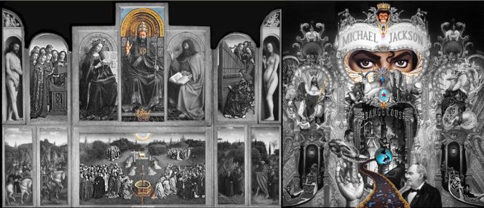 michael jackson dangerous album cover explained meaning erklärt symbols symbole bedeutung genter altarbild van eycken welt erde