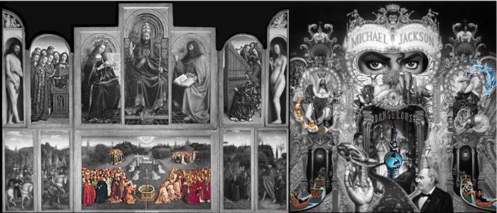 michael jackson dangerous album cover explained meaning erklärt symbols symbole bedeutung genter altarbild van eycken  Retable de l'Agneau mystique