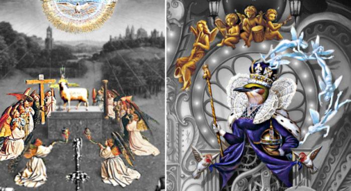 michael jackson dangerous album cover explained meaning erklärt symbols symbole bedeutung genter altarbild van eycken welt erde taube engel angel queen bird peacock