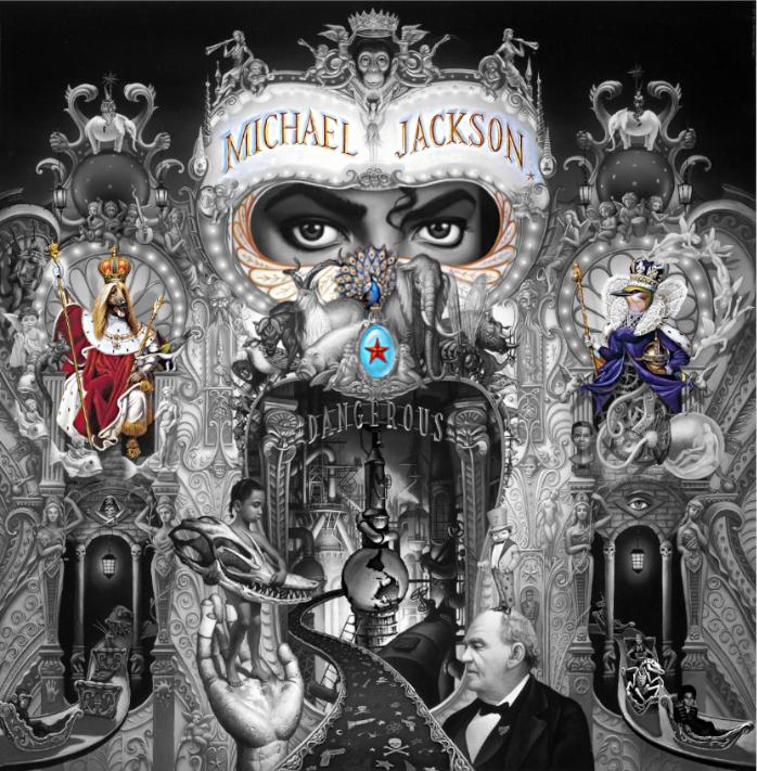 Dangerous Albumcover. Farblich betont sind links Hundekönig, Mitte die goldenen Flügel unter Jackson, darunter der Pfau und darunter der Stern. Rechts die Vogelkönigin