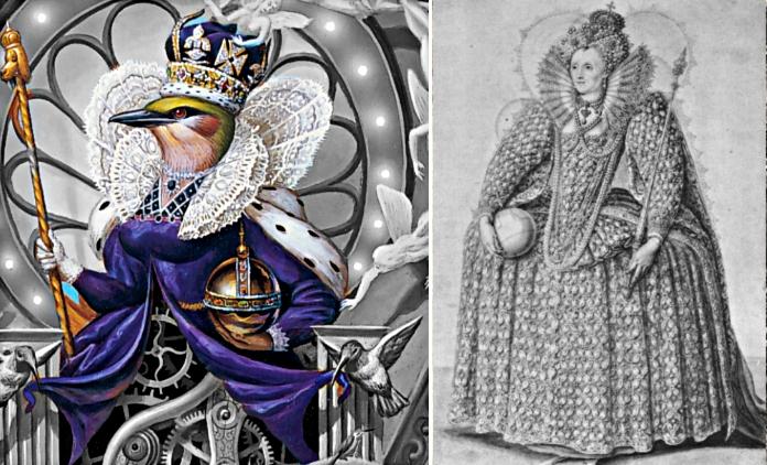 Bild links: Auschnitt Dangerous Cover Vogel mit Krone auf Thron. Bild rechts: Porträt Elizabeth I. mit Krone, Zepter, Kugel, Spitzenkragen