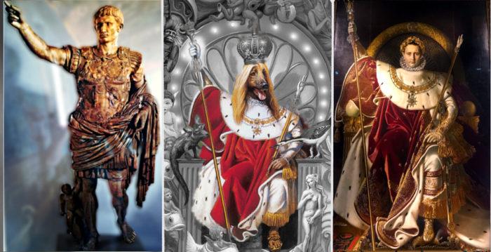 Bild links: Kaiser Augustus Statue mit rechtem erhobenem Arm, Bild mitte: Hund auf Thron auf Dangerous Cover mit rechtem erhobenem Arm, Bild rechts: Napoleon Porträt von Ingres auf kaiserlichem Thron mit rechtem erhobenem Arm