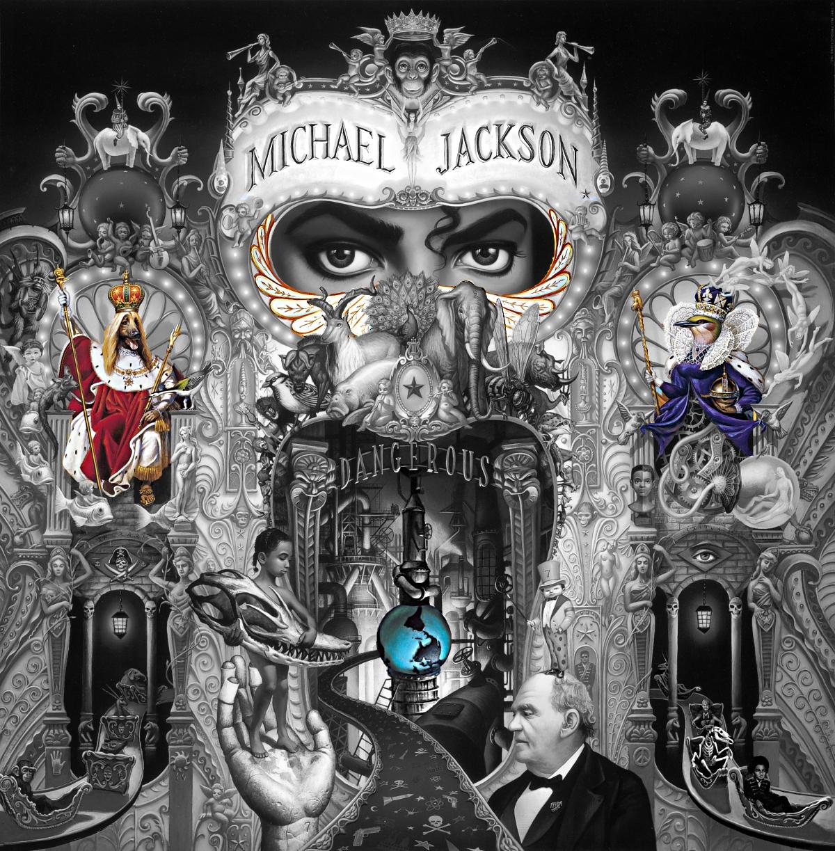 michael jackson dangerous album cover explained meaning erklärt symbols symbole bedeutung ryden art dog king queen welt world day night