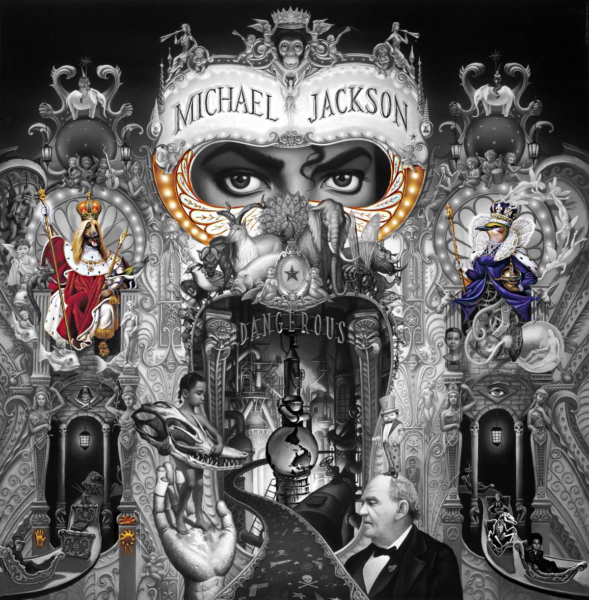michael jackson dangerous album cover Captain EO explained meaning erklärt symbols symbole bedeutung ryden art dog king queen