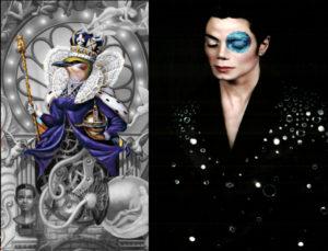 Bild links: Vogelkönigin auf Dangerous. Michael Jackson 1999 fotografiert von Arno Barni vor dunklem Hintergrund. Jackson trägt Jacke mit silbernen Steinen darauf. Seine Haut ist weiß geschminkt. Sein linkes Auge ist blau, glitzernd rund ummalt. Bedeutet: Mond und Sternenhimmel
