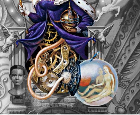 Ausschnitt Dangerous Cover: Unter der Vogelkönigin ist das Räderwerk betont aus der eine Blase entspringt mit zwei Nackten Menschen, Mann und Frau wie in einer Geburtsblase