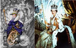 Bild links: Auschnitt Dangerous Cover Vogel mit Krone auf Thron. Bild rechts: Krönungsporträt Elizabeth I. mit Krone auf Thron