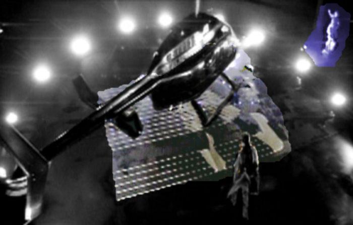 Hubschrauber auf Helipad mit Logo von MJJ Production. Jackson steigt in den Hubschrauber ein. Rechts daneben eine römische Statue mit erhobenem Arm