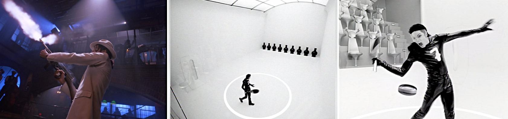Bild links: Jackson schießt mit einem Maschinengewehr Bild Mitte und rechts: Jackson schießt mit einem Tennisschläger