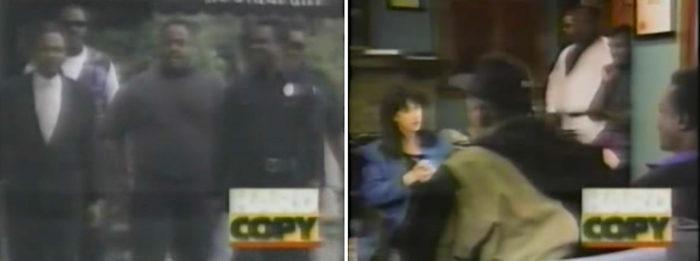 fünf Männer links, rechts Reporterin interviewt die Männer