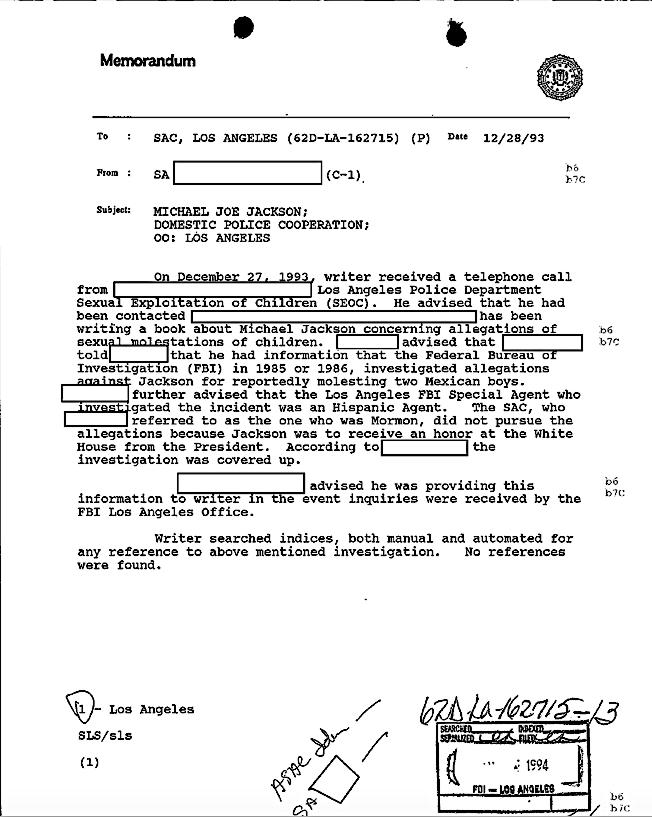 Memorandum des FBI über Gutierrez Anruf 1993
