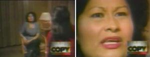 Frau im Stuhl rechts, Gesicht in Nahaufnahme