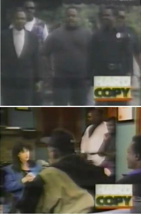 links: Wachleute fünf. Rechts Wachleute im TV Studio zum Interview