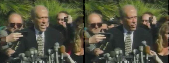 Anwalt Larry Feldman. Mikrofone. Presseleute