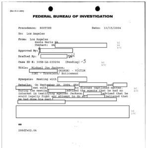 Aktenauszug des FBI über Jordan Chandlers Aussageverweigerung gegen Jackson 2004