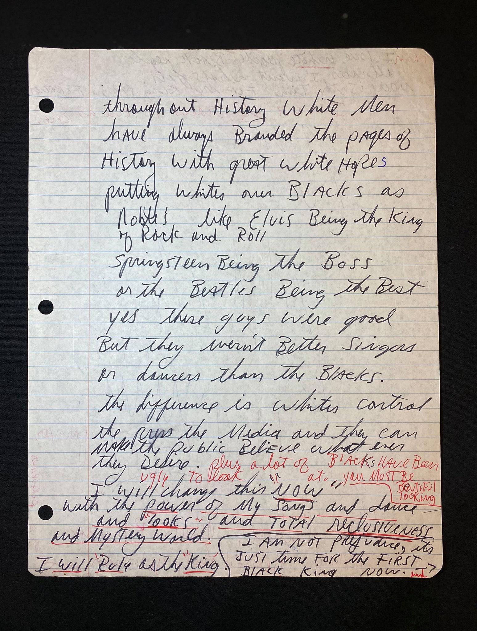 Michael Jackson Manifest 1987 I will rule asthe King