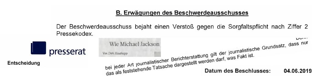 Dirk Hautkapp WAZ sanktioniert mit Missbilligung durch Deutschen Presserat in Report über Michael Jackson