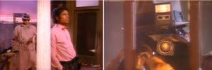 Privatdetektiv schleicht sich an Jackson heran. Kamera durch Jacksons Schlafzimmer in Billie Jean