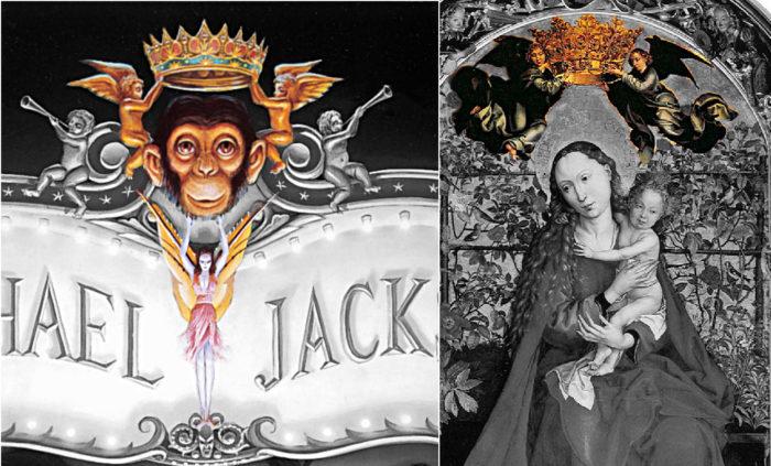 Bild links: Ausschnitt aus Dangerous. Bubbles, über dessen Kopf geflügelte Engel eine Krone halten. Bild rechts: Auschnitt Altarbild 1473 mit geflügelten Engeln, die über Madonna und das Jesuskind eine Krone halten