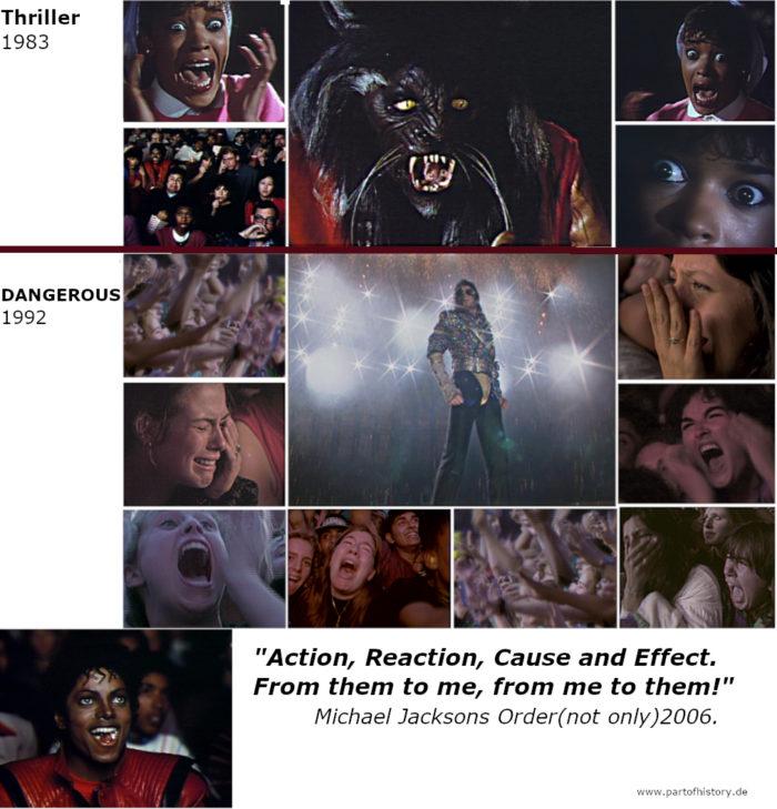 """Bilder oben THRILLER: schreiende Ola Ray, entsetzte Zuschauer über Jacksons Erscheinung; Bilder unten Bucharest Konzert: schreiende, entsetzte Zuschauer über Jacksons Erscheinen in Jam: Bild unten: Jackson in Thriller, popcorn kauend: """"Ich genieße das!"""""""