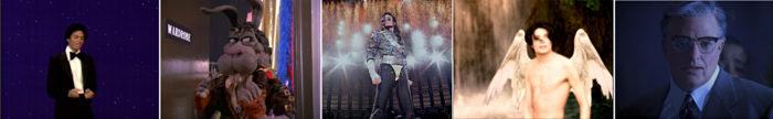 Michael Jackson von links nach rechts Don't Stop 'Til You Get Enough, Spike in Moonwalker, Jam in Bucharest Konzert, Engel in You Are Not Alone, Bürgermeister in Michael Jacksons Ghosts