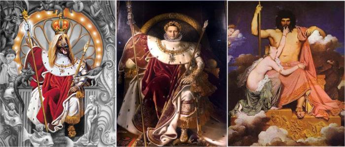 Bild links: Hundekönig als König auf Thron. Bild Mitte: Kaiser Napoleon als Kaiser auf Thron. Bild rechts: Jupiter als oberster Gott auf Thron Gemälde Ingres