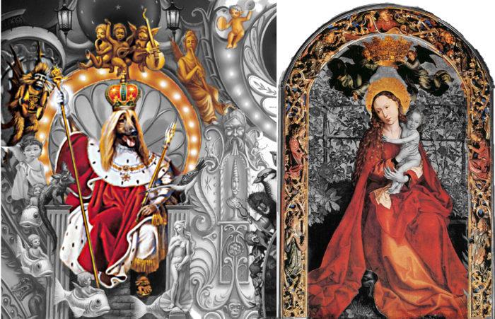 links: Michael Jackson Dangerous Albumcover. Auschnitt Hund auf Thron. Um die Lehne des Throns sind Engel angeordnet wie um die Madonna auf dem Genter Altarbild von 1473. Bild rechts: Auschnitt der Madonna im roten Gewand umgeben von Engeln. In Ihrer Hand hält Madonna das Jesuskind, wo beim Hund auf Dangerous der Vogel ist.