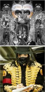 """Bild oben: Auschnitt Jacksons Dangerous Cover farblich hervorgehoben ist Schriftzug """"Michael Jackson"""" in der Maske. Bild unten: Jackson gibt 1997 Autogramme, trägt eine goldene Jacke, Fedora Hut, eine schwarze Seidenmaske. Seine Augen schauen hinter der Maske direkt in die Kamera, in das Auge des Betrachters wie auf DANGEROUS"""