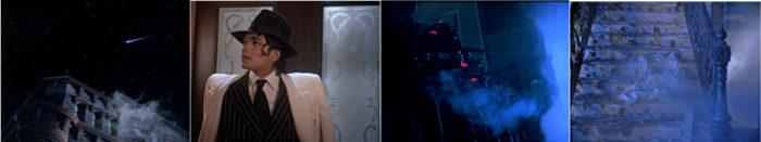 Michael Jackson Moonwalker Film Komet. Jackson vor der Tür blickt in Nachthimmel. Maschinengewehre feuern auf Jackson. Nach dem Abschuss ein Bild der Zerstörung auf Treppe. Jackson ist verschwunden.