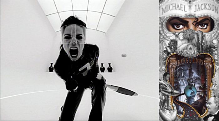 Michael Jackson links im Court von Scream schreiend in die Kamera, links der aufgerissene Mund auf Dangerous Album ist wie ein Schrei