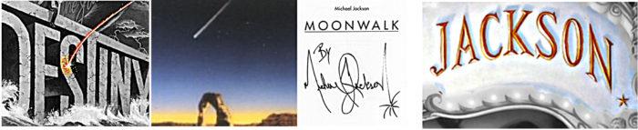 Komet Destiny Album Cover Ausschnitt Musikfilm Can You Feel It Ausschnitt Moonwalk Autobiografie mit Signatur Michael Jacksons Schriftzug Jackson mit Stern auf Dangerous Album Cover