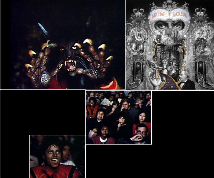 """Bild oben links: Jackson als """"Werkatze"""" in THRILLER mit aufgerissenem Maul in Kamera: rechts Jackson mit subtilem aufgerissenem Maul auf DANGEROUS Albumcover Bild Mitte: entsetztes Publikum in Thriller, Jackson: """"I'm enjoying this!"""""""
