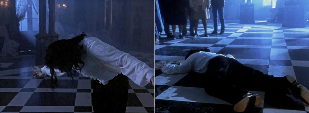 Michael Jackson verbeugt sich vor seinem Publikum, stürzt danach zu Boden und verwandelt sich in Asche, die davonfliegt.