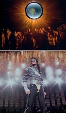 Bild oben: Auschnitt Pfau am Himmel in CAN YOU FEEL IT, Konzertbesucher. Bild unten: Jackson in Uniform. Seine Jacke hat die Farben des Pfaus. Phyrotechnik sorgt für das Strahlen.