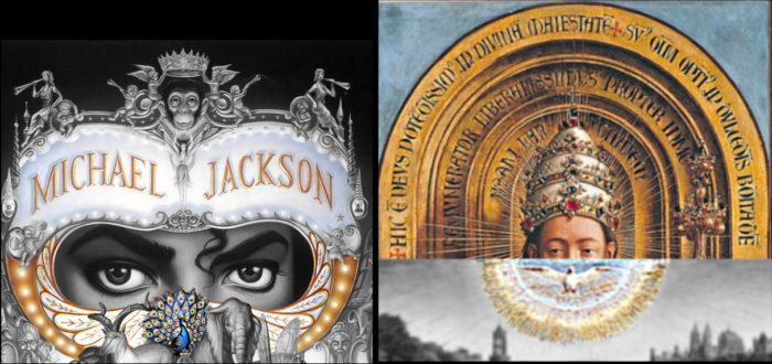 michael jackson dangerous album cover explaines meaning erklärt symbols symbole bedeutung genter altarbild van eycken welt erde god taube pfau peacock