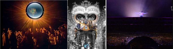 """Bild links: Auschnitt CAN YOU FEEL IT mit Pfau am Himmel. Bild Mitte: Dangerous Cover mit Stern, Pfau, Tieren, goldenem Gefieder. Bild rechts: Jackson """"schwebt"""" am Himmel während eines Dangerous Konzertes. Unter ihm die Zuschauer. Unter ihm die Erde auf einem großen Ballon."""