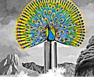 Pfau mit Stern auf glitzernder Säule auf Rückseite des DESTINY Albums.