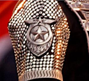 """Filmausschnitt """"History-Teaser"""": Jackson Uniform trägt auf dem Arm das Emblem aus Stern und Gefieder, Strahlenkranz."""