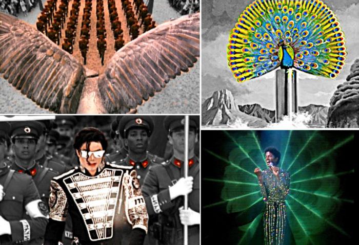 """Bild oben links: Gefieder im """"History-Teaser"""", Soldaten marschieren. Bild oben rechts: Pfau auf Destiny Album. Bild unten links: Jackson erscheint und Funkelt in Unfiorm. Bild unten rechts: Auschnitt auf """"Rock with You"""" Jackson in funkelnder Uniform wird angestrahlt."""